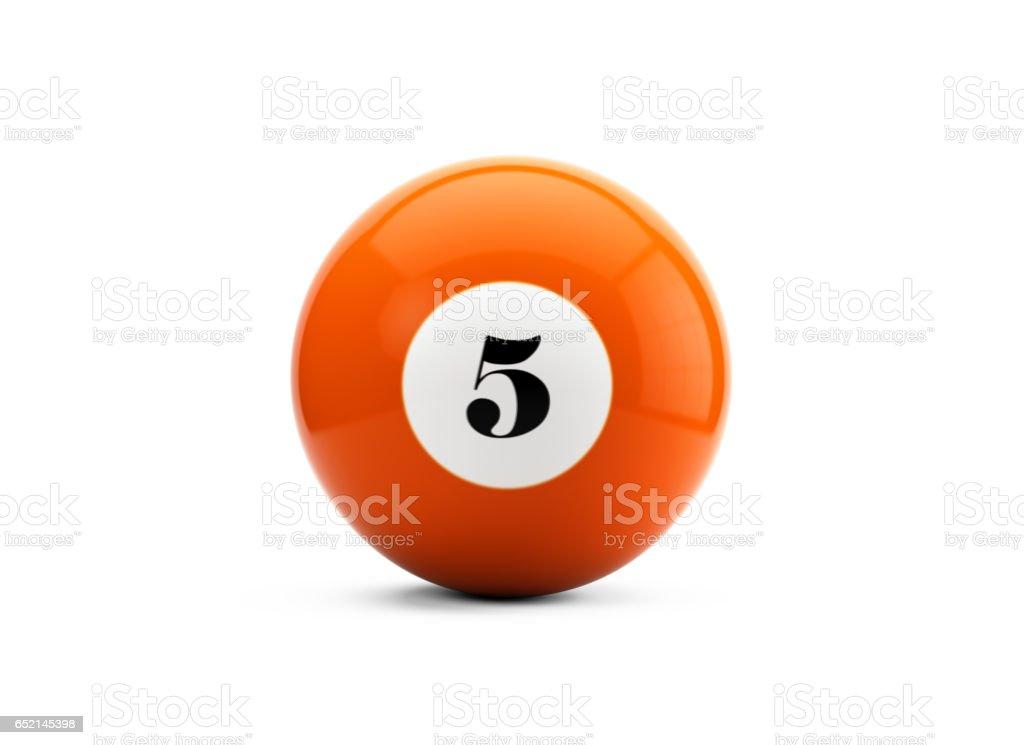 Bola de billar de Color naranja con fondo blanco aislado - foto de stock