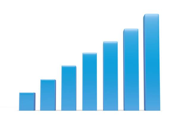 orange color finance graphic isolated on white - diagramma a colonne foto e immagini stock