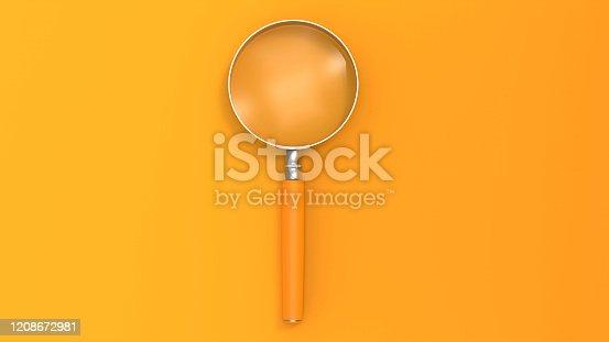 Orange Color Magnifying glass on Orange Background stock photo