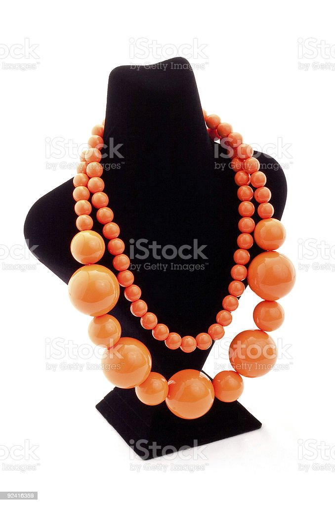 Orange color necklace royalty-free stock photo
