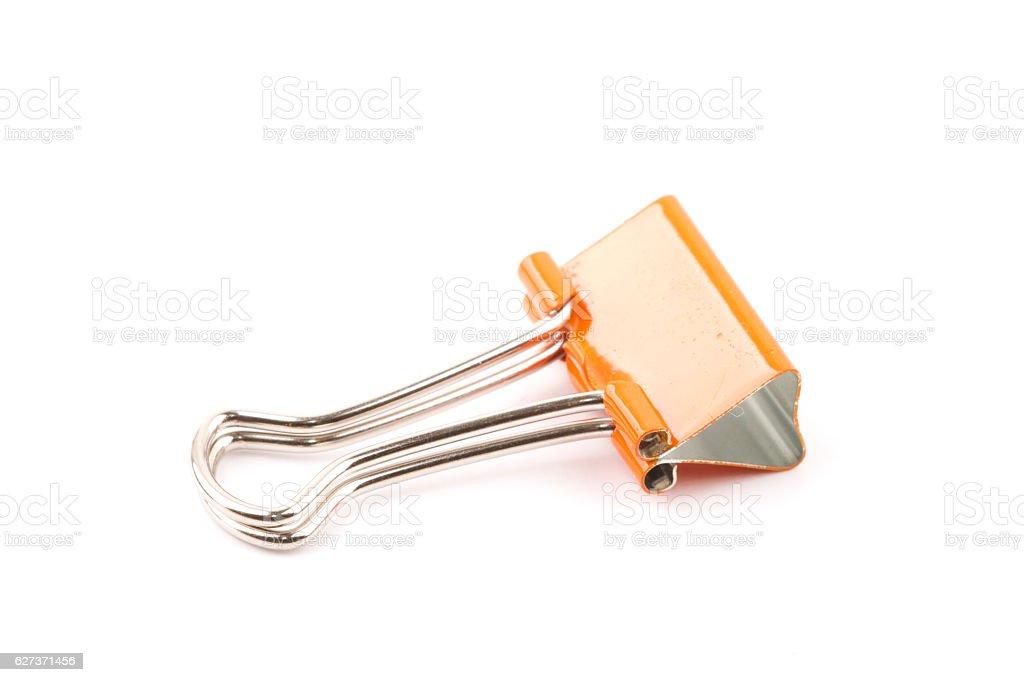 Orange color Paper clip isolated stock photo