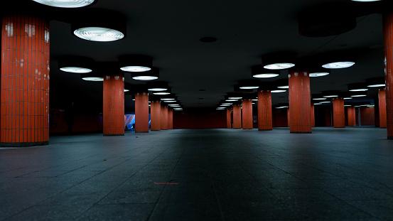 orange columns in berlin underpass