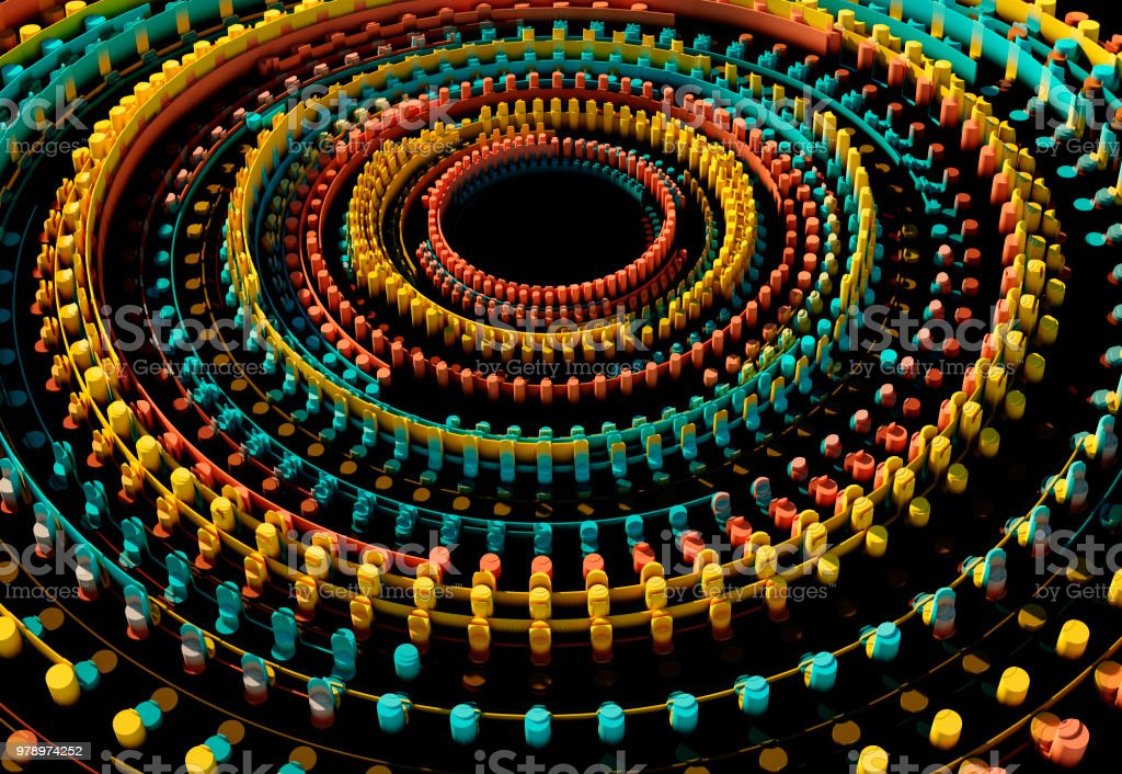 Orange konzentrischen geometrische Grafik 3D Muster – Foto