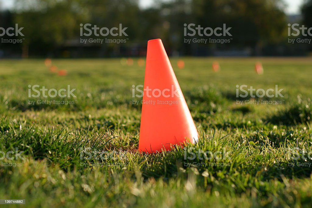 Orange Cone in Grass stock photo