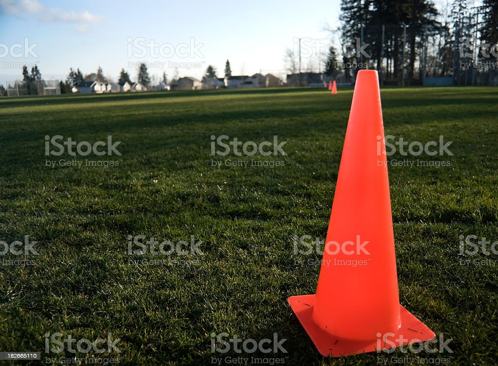 Orange Cones on  Field stock photo