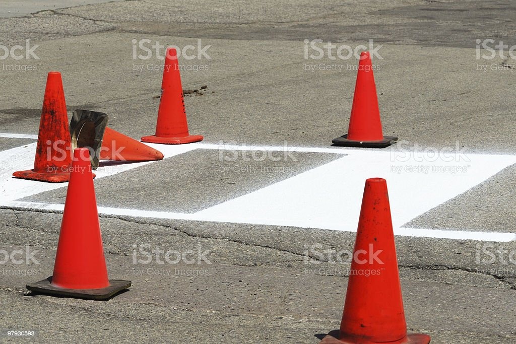 Orange Construction Cones royalty-free stock photo