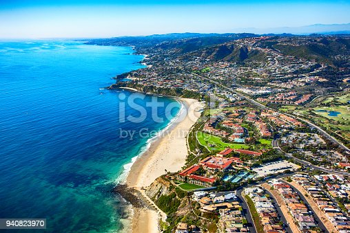 Aerial view of Monarch Beach located in Dana Point, California, in the southern portion of Orange County.
