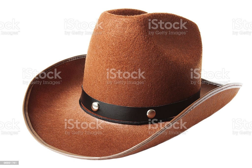 Orange cowboy hat with silver studs stock photo