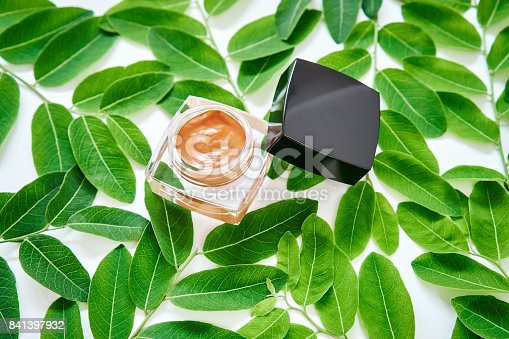 927626522 istock photo Orange cream bottle placed, Blank label package for mock up on a green foliage background and flowers. The concept of natural beauty products. 841397932