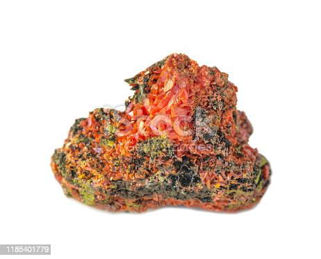 Rare, bright orange crystals of crocoite on the matrix from the Ural Mountains, mineral consisting of lead chromate, isolated on white background