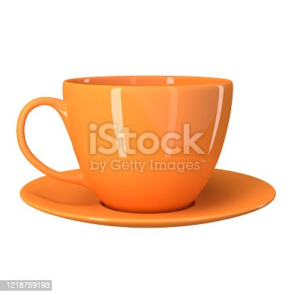Orange cup with saucer isolated on a white background. 3d image