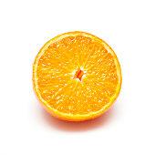 Orange cut in half on a white background