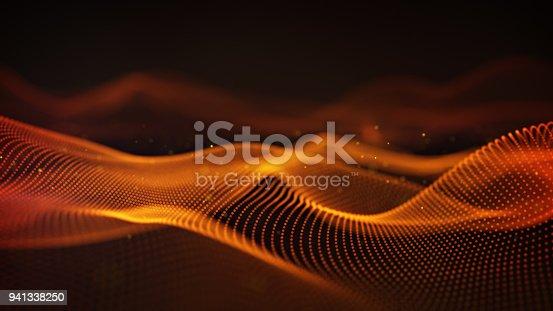 istock Orange cyber relief 3D rendering with DOF 941338250