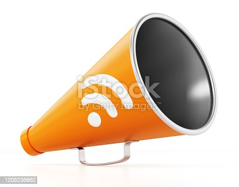 Orange director's megaphone with rss symbol isolated on white.