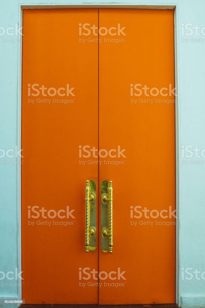Orange Door stock photo