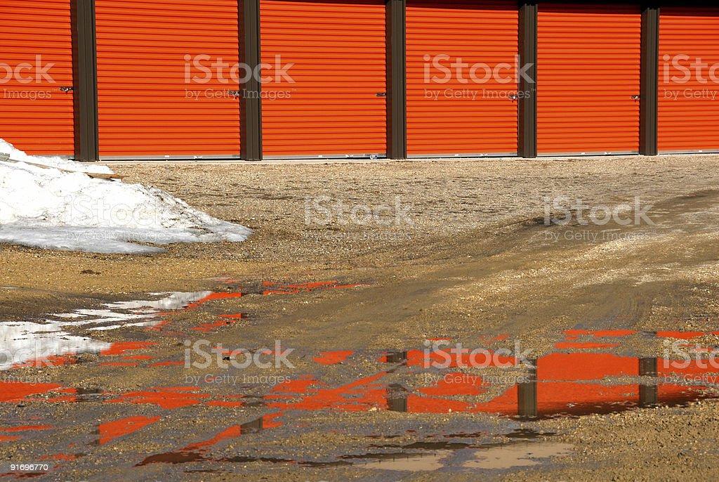Orange Doors of Storage Shed royalty-free stock photo