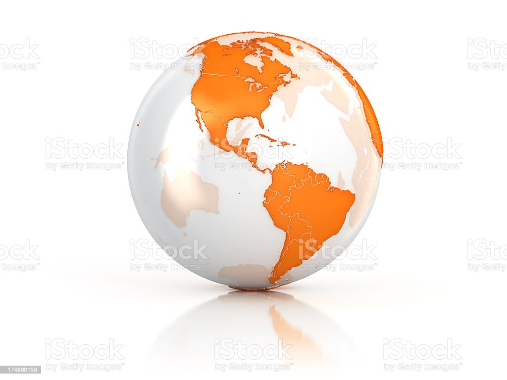 Orange Earth globe - America stock photo