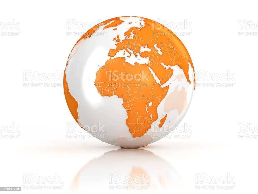 Orange Earth globe on white surface stock photo