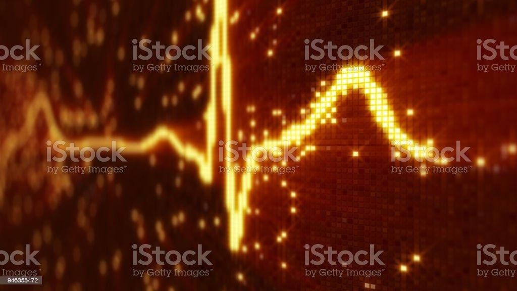 Orange EKG electrocardiogram waveform on monitor stock photo