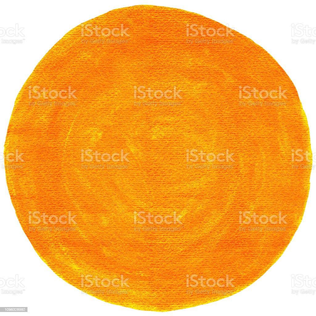 Orange empty circle watercolor shape with paint texture. stock photo