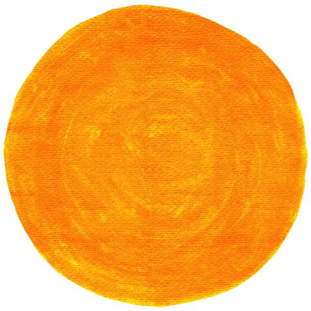 Orange leerer Kreis Aquarell Form mit Farbe Textur. – Foto