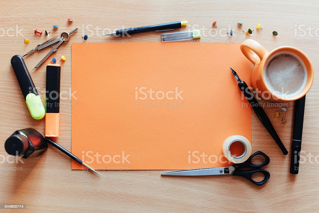 Orange empty sheet with lots stock photo