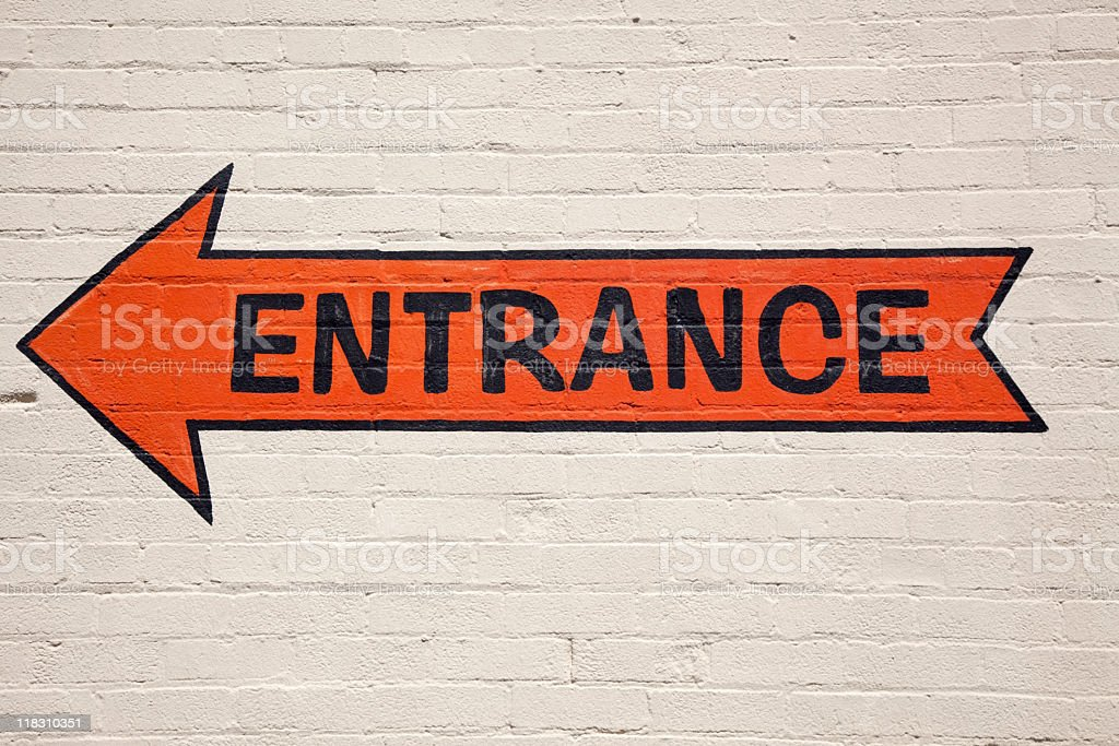 Orange Entrance Arrow royalty-free stock photo