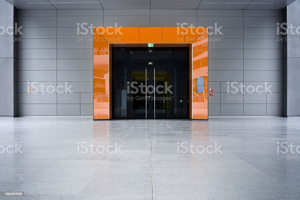 Orange entrance of office building