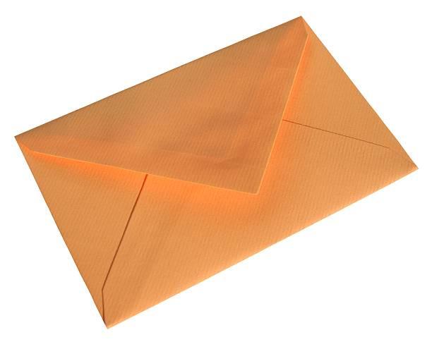 orange briefumschlag - briefhalter stock-fotos und bilder