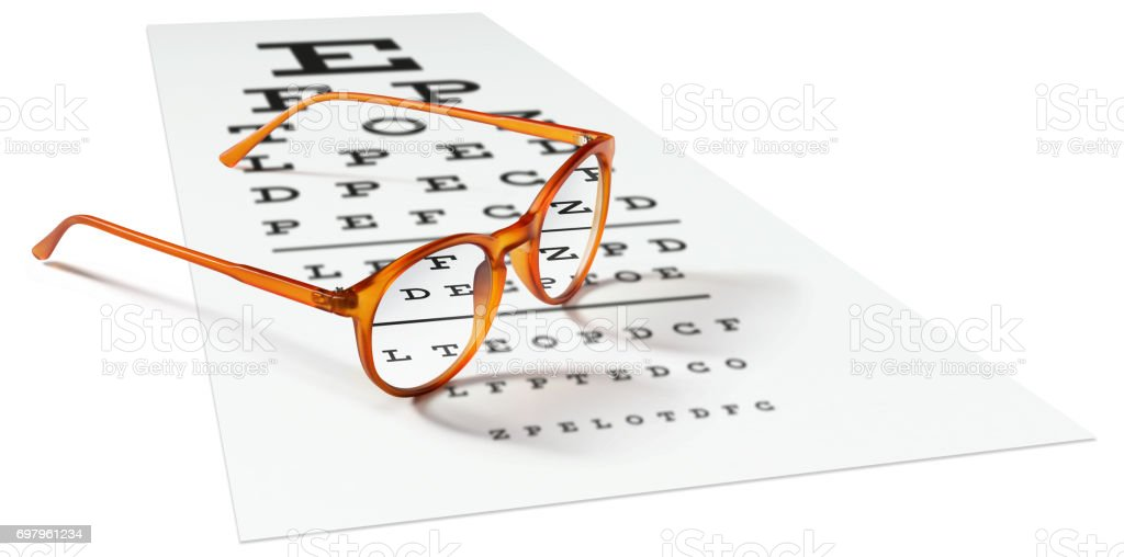 orange eyeglasses on visual test chart isolated on white. Eyesight concept stock photo