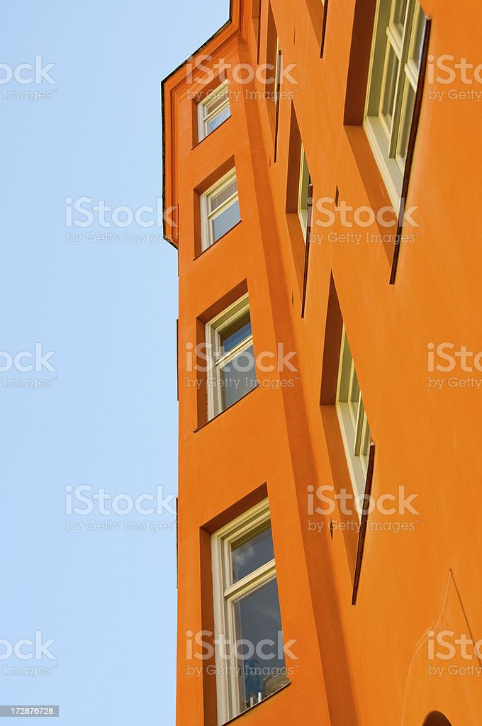 Orange facade of apartment buuilding royalty-free stock photo