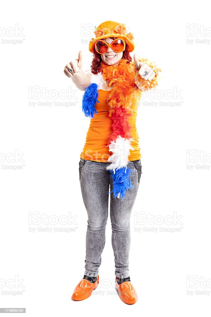 Orange fan thumbs up. royalty-free stock photo