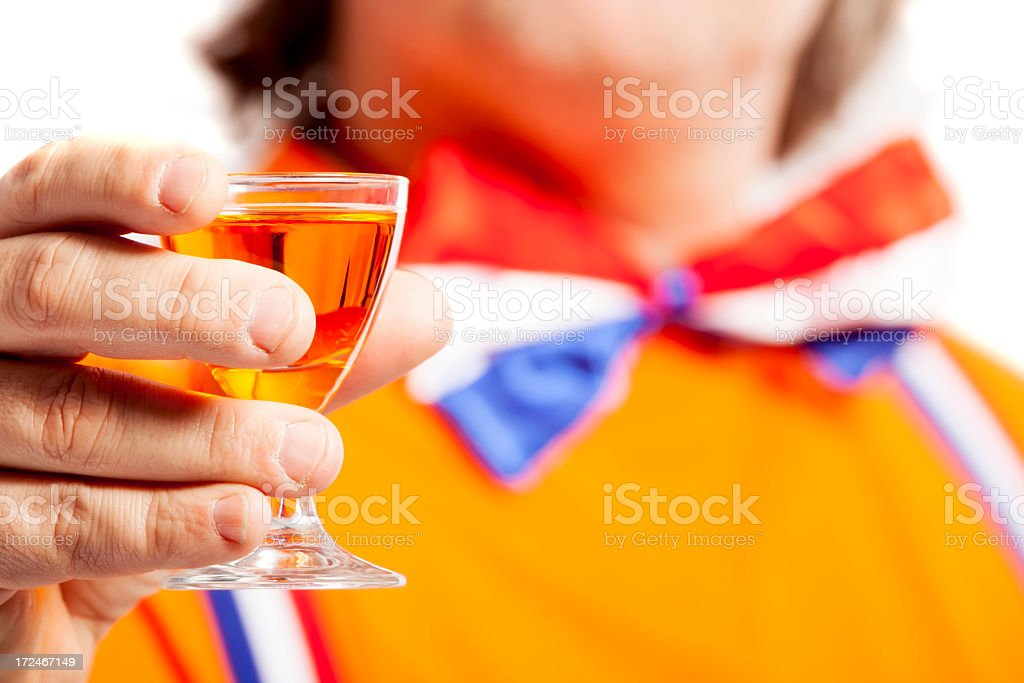 Orange fan with oranjebitter stock photo
