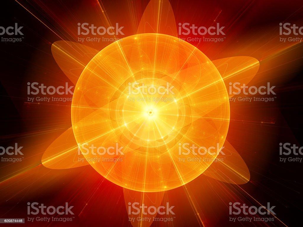 Orange fiery nuclear energy fractal illustration zbiór zdjęć royalty-free