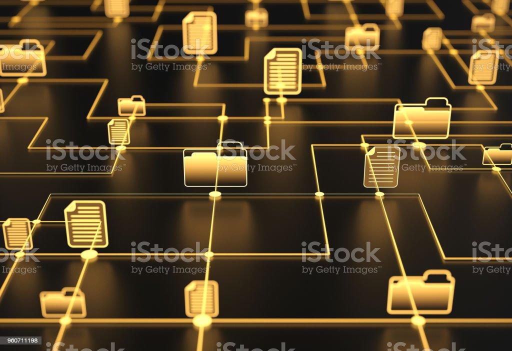 Orange files and folders network stock photo