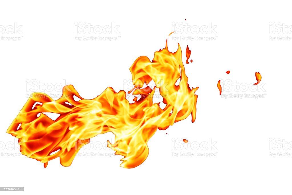 Orange fire flame isolated on white background stock photo