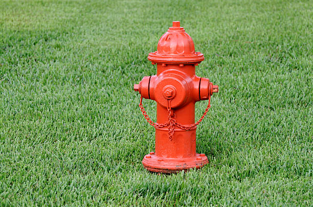 Orange Fire Hydrant In Green Grass Orange Fire Hydrant in grass fire hydrant stock pictures, royalty-free photos & images