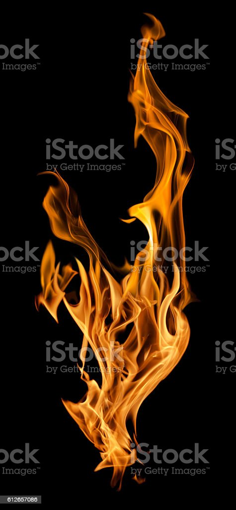 Orange Fire Spark Isolated On Black Stock Photo & More Pictures of