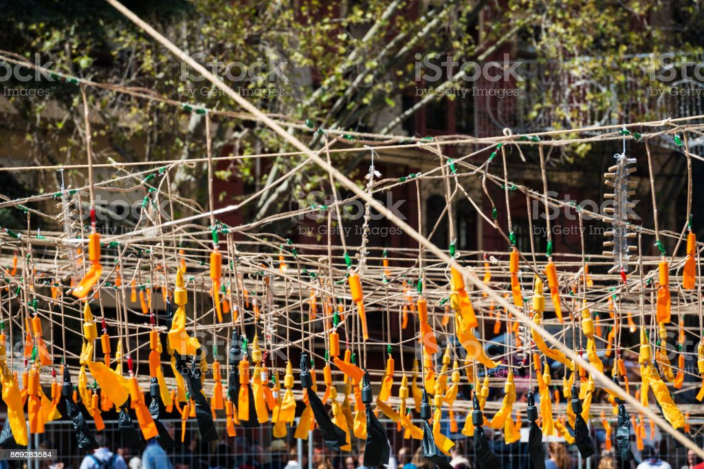 Orange firecrackers during the Fallas in Valencia stock photo