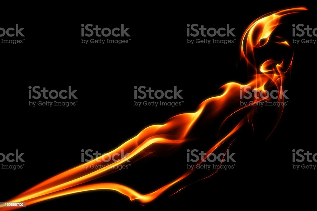 orange flames close-up royalty-free stock photo