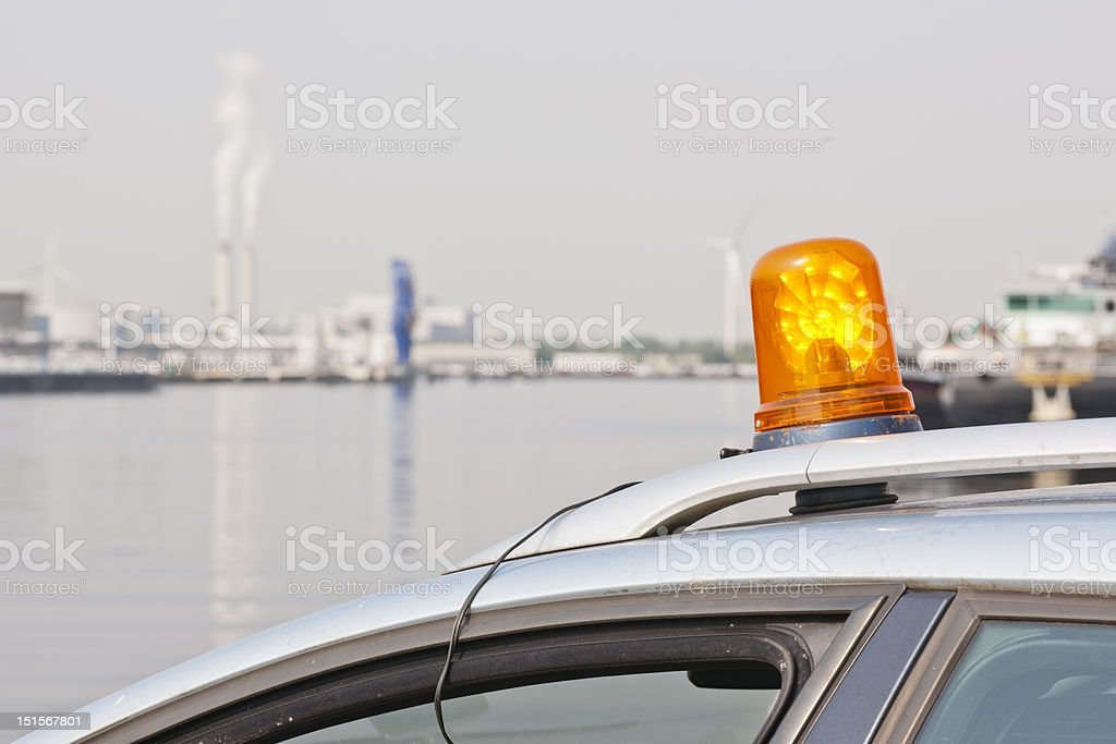 Orange flashing light stock photo