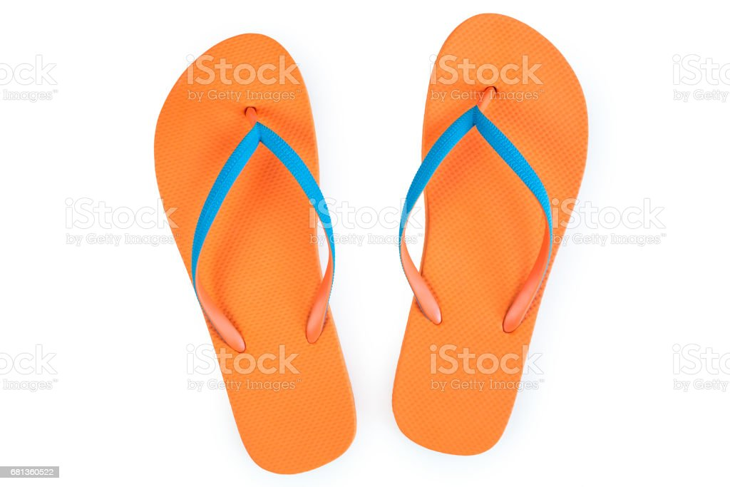 Orange Flip Flops Isolated On White Background. Top View stock photo