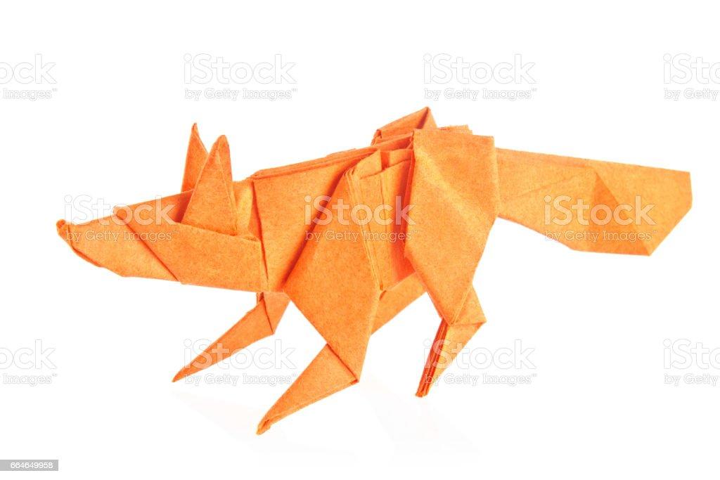 Orange fox of origami stock photo