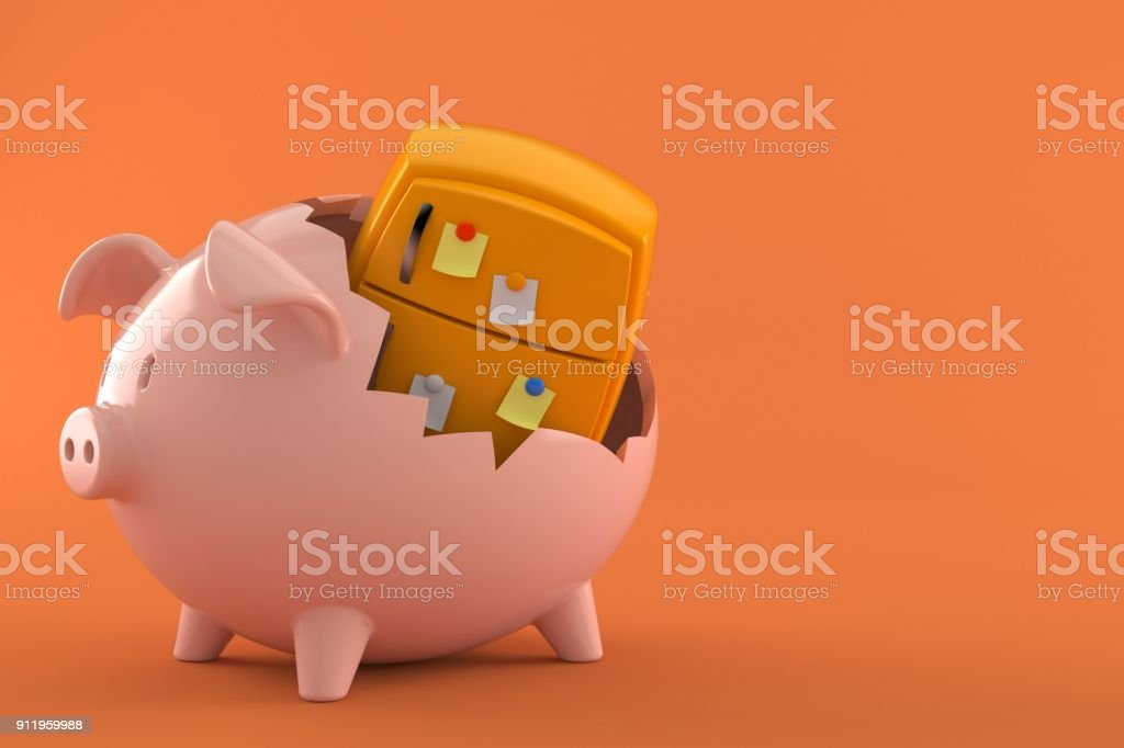 Orange fridge inside piggy bank stock photo
