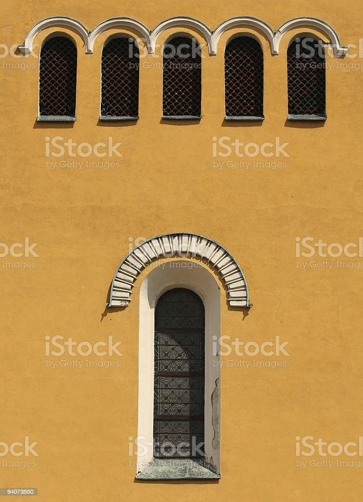 orange front fasade& oculust window stock photo