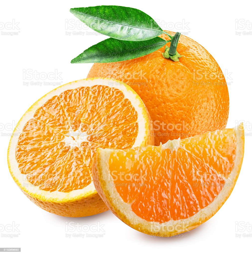 Orange fruit and slices. stock photo