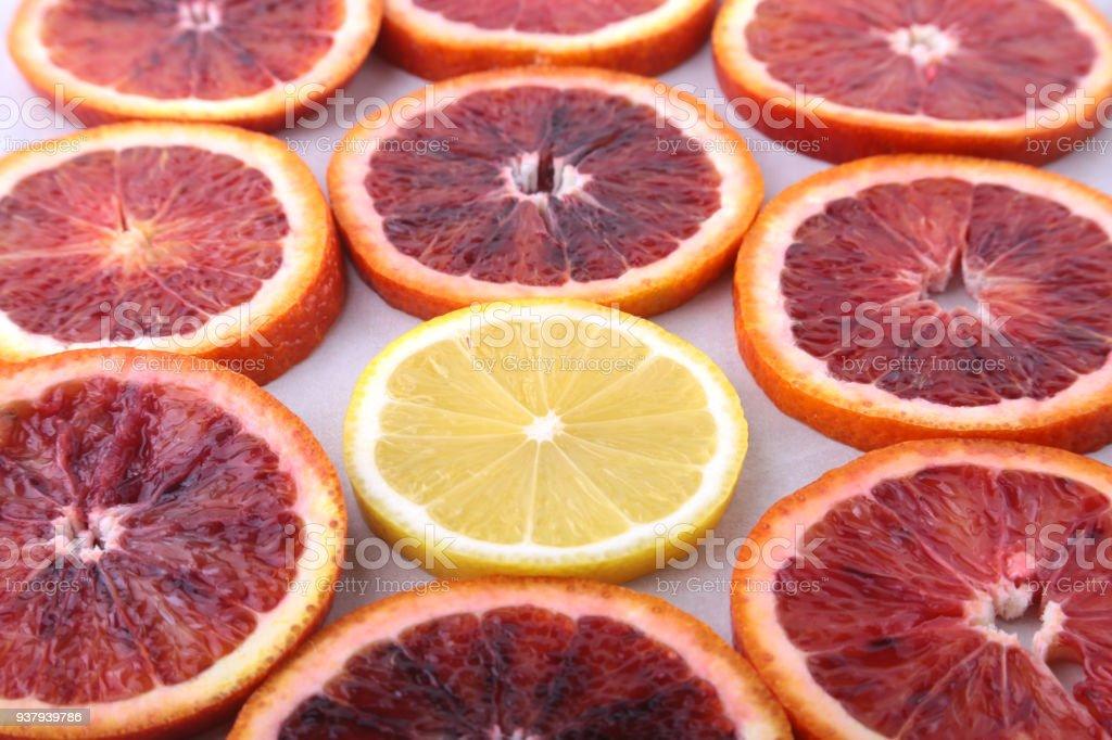 Orange fruit. Background with Orange and lemon slice isolated on...