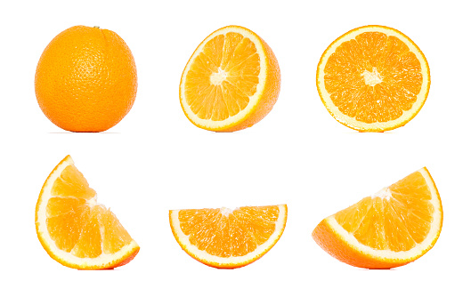 Orange fruit collection in different variations isolated over white background. Whole and sliced orange. Orange Clipping Path.