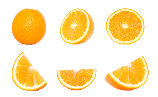 orange fruit collection in different variations isolated over white background. whole and sliced orange. orange clipping path. - cząstka zdjęcia i obrazy z banku zdjęć