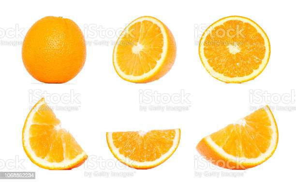 Photo of Orange fruit collection in different variations isolated over white background. Whole and sliced orange. Orange Clipping Path.
